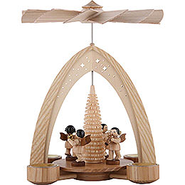 1 - Tier Pyramid  -  Four Angels Natural with Wind Instruments  -  26,5x21x16cm / 10.4x8.6x6.3 inch