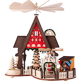 1 - Tier Pyramid House  -  Half Timber House Christmas Market  -  30cm / 11.8 inch