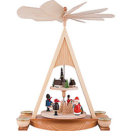 2 - Tier Pyramid with Santa Claus and Seiffener Village Painted  -  35cm / 13.8 inch
