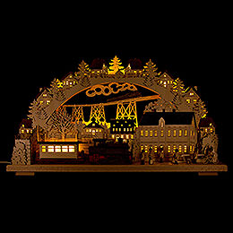 3D Candle Arch  -  Railway with smoking Engine  -  70x38cm / 27.6x15 inch