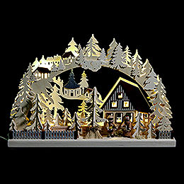 3D Candle Arch  -  Striezel Children and Fir Trees  -  42x30cm / 17x12 inch