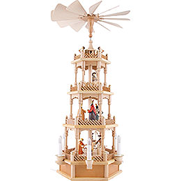 4 - Tier Pyramid  -  Nativity Figurines  -  Colored  -  120 Volt (US System) Electrical  -  72cm / 28 inch