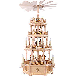 4 - Tier Pyramid  -  Nativity Scene Natural Wood  -  59cm / 23 inch
