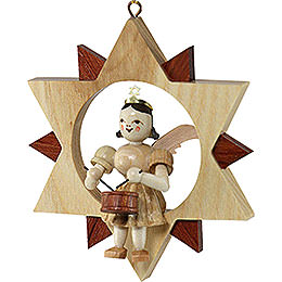 Angel Sitting in a Star with Drum, Natural  -  9cm / 3.5 inch