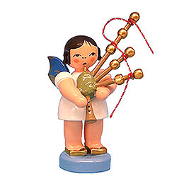 Angel Standing with Blue Wings and Bagpipe  -  7cm / 2,76 inch