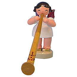 Angel with Alphorn  -  Red Wings  -  Standing  -  6cm / 2,3 inch