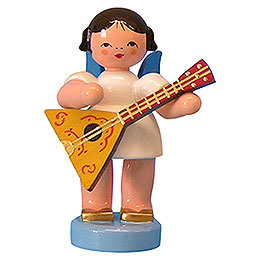 Angel with Balalaika  -  Blue Wings  -  Standing  -  6cm / 2,3 inch