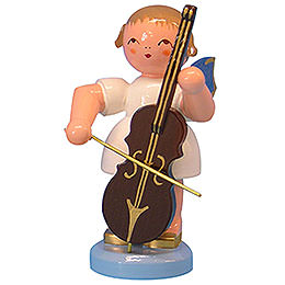 Angel with Cello  -  Blue Wings  -  Standing  -  9,5cm / 3,7 inch