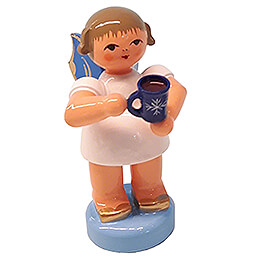 Angel with Cup of Mulled Wine  -  Blue Wings  -  Standing  -  6cm / 2.4 inch