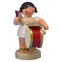 Angel with Drum and Cymbal  -  Red Wings  -  Standing  -  6cm / 2,3 inch