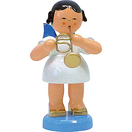 Angel with Flugelhorn  -  Blue Wings  -  Standing  -  9,5cm / 3.7 inch