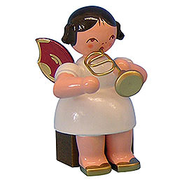 Angel with Flugelhorn  -  Red Wings  -  Sitting  -  5cm / 2 inch