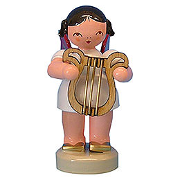 Angel with Lyre  -  Red Wings  -  Standing  -  6cm / 2,3 inch