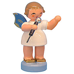 Angel with Microphone  -  Blue Wings  -  Standing  -  6cm / 2,3 inch