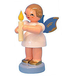Angel with Torch  -  Blue Wings  -  Standing  -  6cm / 2,3 inch