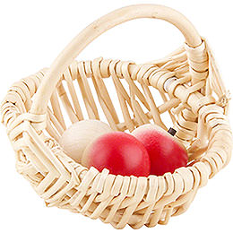 Basket with 3 Apples  -  8cm / 3 inch