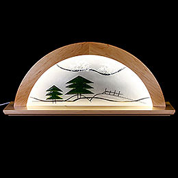 Candle Arch  -  Erle Natural with Glas and Green Fir Tree  -  79x14x35cm / 31x5.5x14 inch