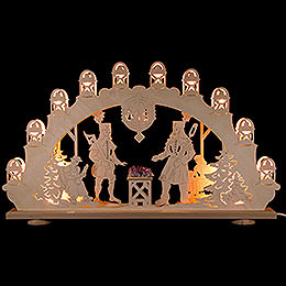 """Candle Arch  -  """"Miner"""" with Amethyst  -  LED  -  66x40x6cm / 26x16x2.4 inch"""