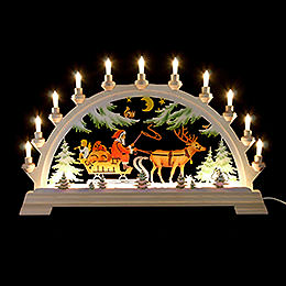 Candle Arch  -  Santa Claus on Sleigh, Colored  -  65x40cm / 26x17.5 inch