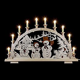 Candle Arch  -  Snow Man Family  -  65x45cm / 25.5x17 inch