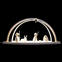 Candle Arch  -  modern wood WHITE LINE  -  Nativity  -  57x26x10cm / 22.4x10.2x3.9 inch