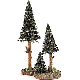 Conifers with Bird House  -  Green  -  2 pieces  -  27cm / 10.6 inch
