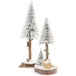 Conifers with Bird House  -  White  -  2 pieces  -  27cm / 10.6 inch