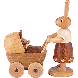 Easter Bunny Mother with Buggy  -  11cm / 4 inch
