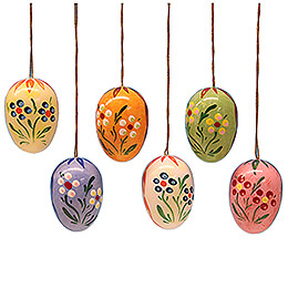 Easter Egg Set with Dot - Flowers  -  3,5cm / 1.4 inch