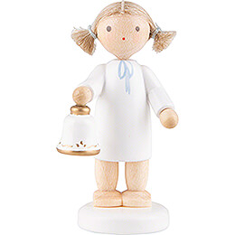 Flax Haired Angel with Bell  -  5cm / 2 inch