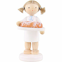 Flax Haired Angel with Christmas Stollen  -  5cm / 2 inch