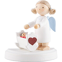 Flax Haired Angel with Cradle  -  5cm / 2 inch