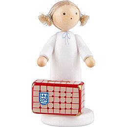 Flax Haired Angel with Large Suitcase  -  5cm / 2 inch