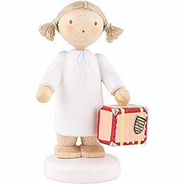 Flax Haired Angel with Little Suitcase  -  5cm / 2 inch