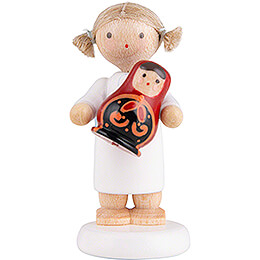 Flax Haired Angel with Russian Matryoshka  -  5cm / 2 inch