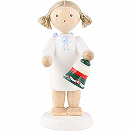 Flax Haired Angel with Table Bell  -  5cm / 2 inch