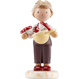 Flax Haired Children Boy with Toadstools  -  Edition Flade & Friends  -  4,5cm / 1.8 inch