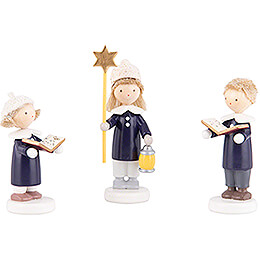 Flax Haired Children Carolers of Olbernhau with Star  -  5cm / 2 inch