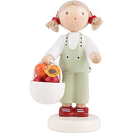 Flax Haired Children Girl with Apple Basket  -  5cm / 2 inch