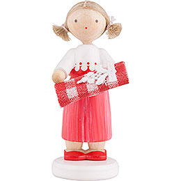 Flax Haired Children Girl with Bolt of Fabric  -  5cm / 2 inch