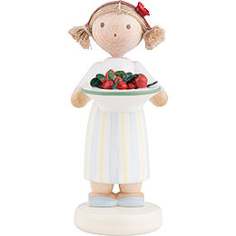 Flax Haired Children Girl with Cherries  -  5cm / 2 inch