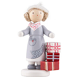 Flax Haired Children Girl with Presents  -  Edition Flade & Friends  -  5cm / 2 inch