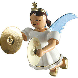 Floating Angel with Cymbals, Colored  -  6,6cm / 2.6 inch