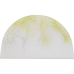 """Glass Picture """"Apple Tree in Spring""""  -  26x15cm / 10.2x5.9 inch"""