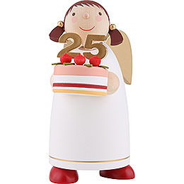 Guardian Angel with Fancy Cake, White  -  8cm / 3.1 inch