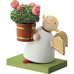 Guardian Angel with Rose Flower Pot  -  3,5cm / 1.3 inch
