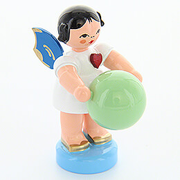 Heart Angel with Stability Ball  -  Blue Wings  -  Standing  -  6cm / 2.4 inch