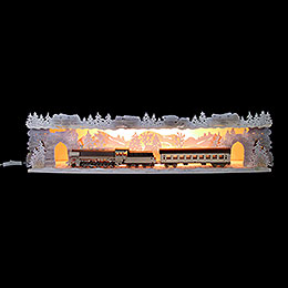 Illuminated Stand 'Train Ride Through the Ore Mountains' with Snow  -  75x20x15cm / 29.5x7.9x5.9 inch