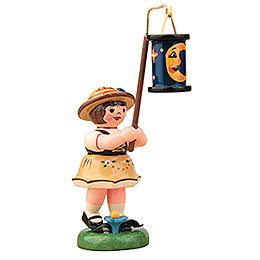 Lampion Girl with Blue Moon Lantern  -  8cm / 3 inch