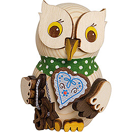 Mini Owl with Gingerbread Heart  -  7cm / 2.8 inch